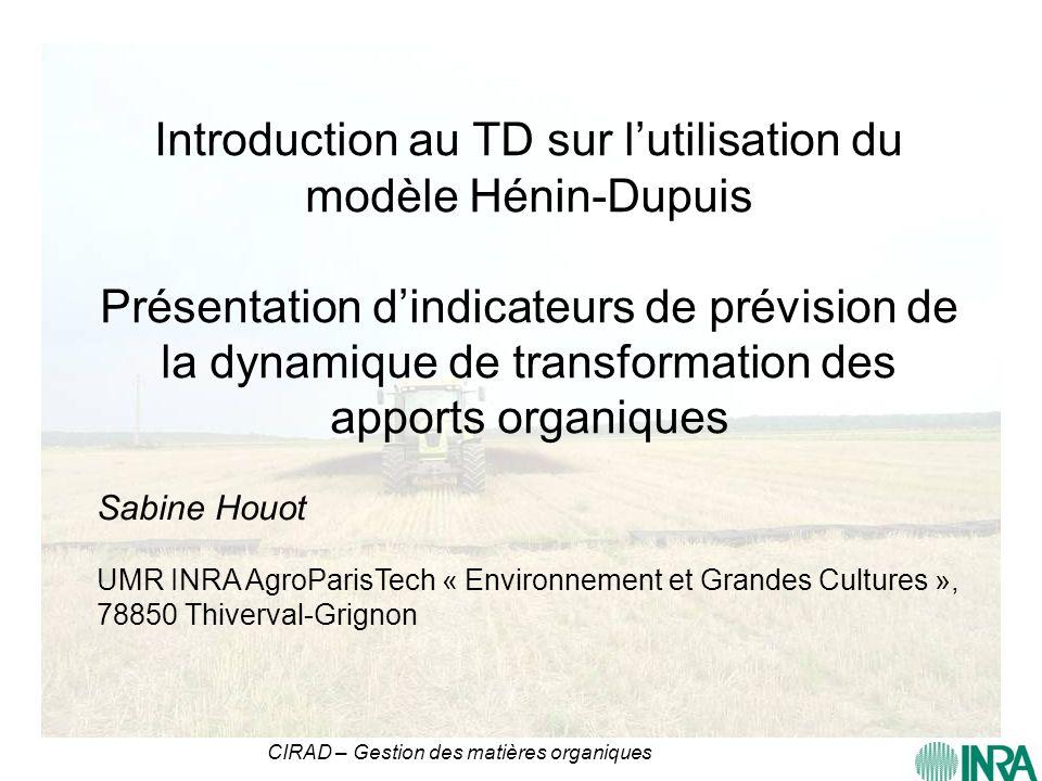 Introduction au TD sur l'utilisation du modèle Hénin-Dupuis Présentation d'indicateurs de prévision de la dynamique de transformation des apports organiques
