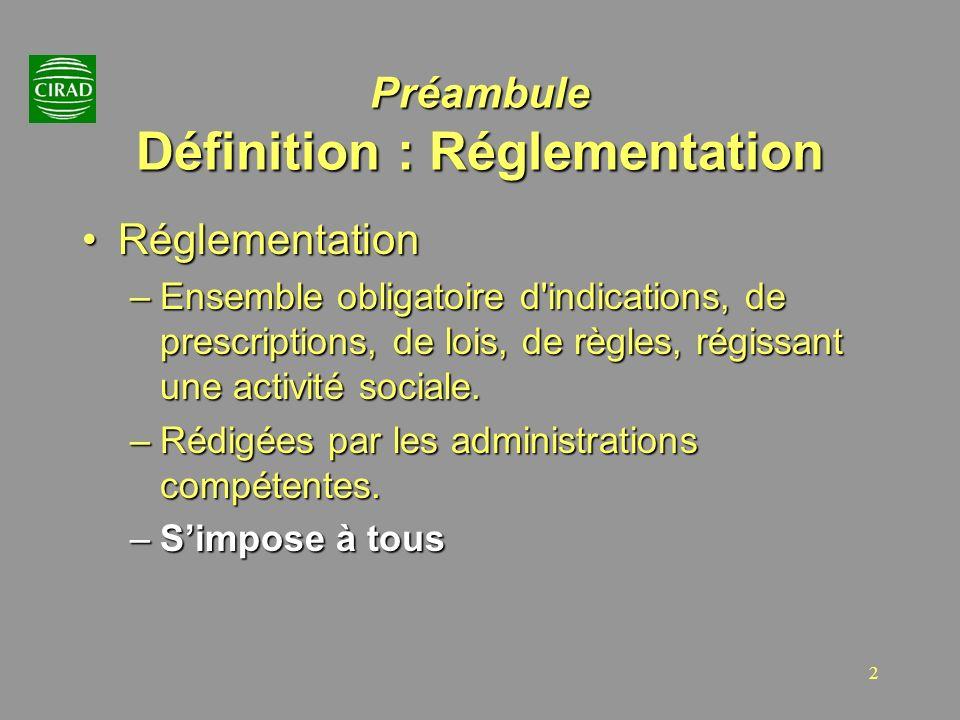 Préambule Définition : Réglementation