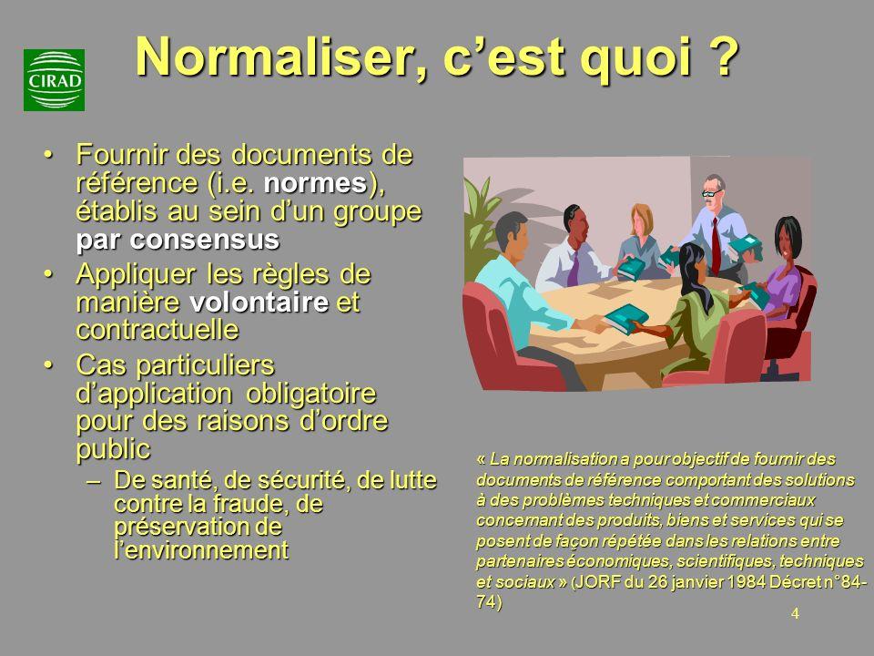 Normaliser, c'est quoi Fournir des documents de référence (i.e. normes), établis au sein d'un groupe par consensus.