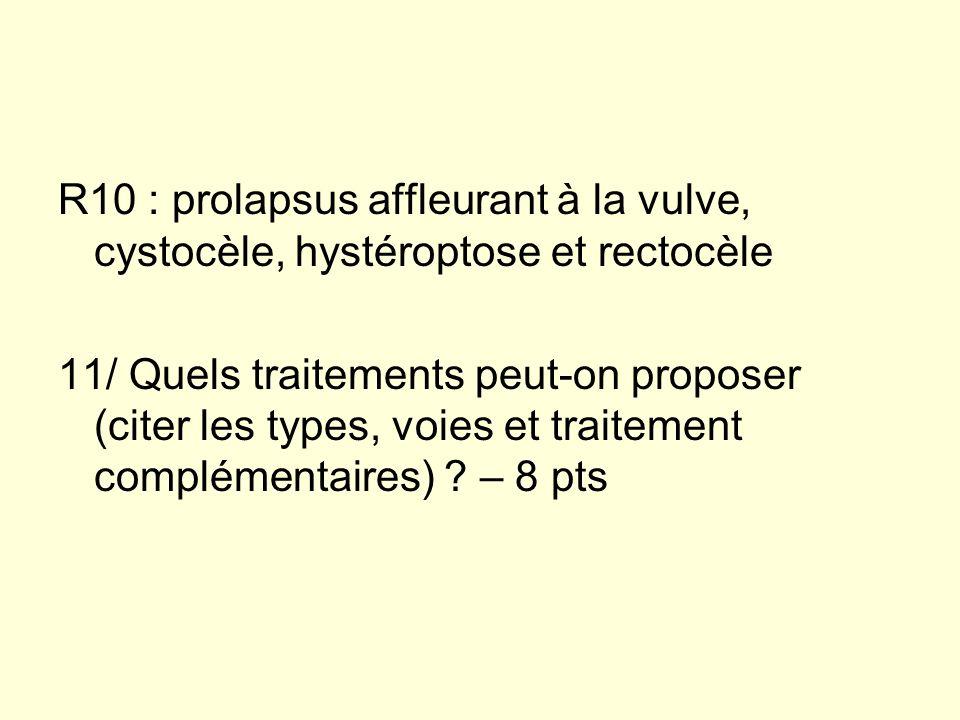 R10 : prolapsus affleurant à la vulve, cystocèle, hystéroptose et rectocèle
