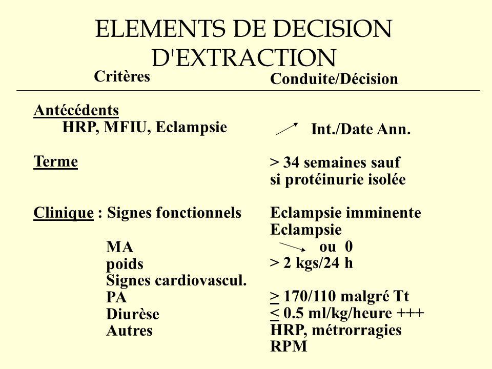 ELEMENTS DE DECISION D EXTRACTION