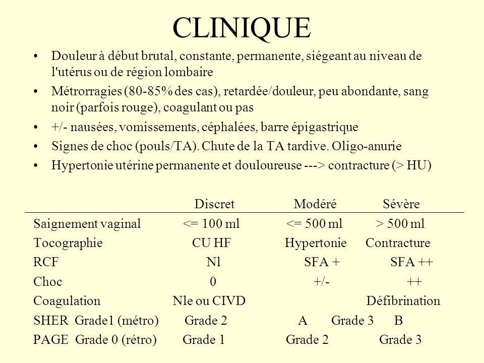 CLINIQUE Douleur à début brutal, constante, permanente, siégeant au niveau de l utérus ou de région lombaire.