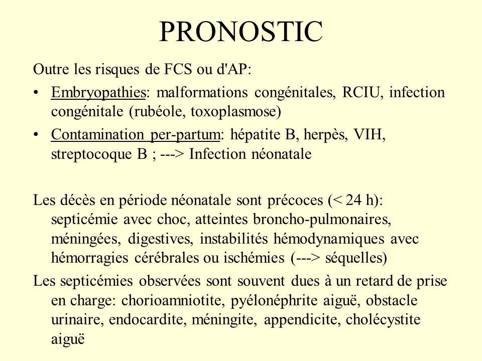 PRONOSTIC Outre les risques de FCS ou d AP: