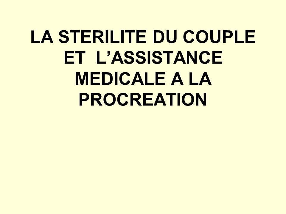 LA STERILITE DU COUPLE ET L'ASSISTANCE MEDICALE A LA PROCREATION