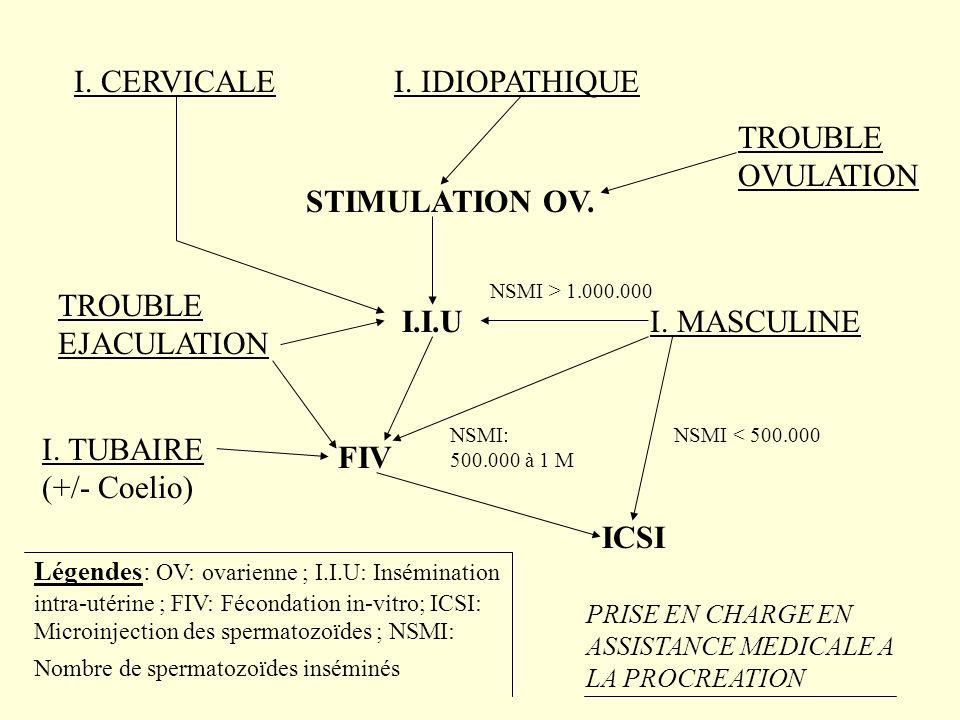 I. CERVICALE I. IDIOPATHIQUE TROUBLE OVULATION STIMULATION OV.
