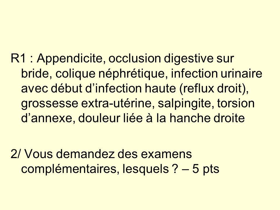 R1 : Appendicite, occlusion digestive sur bride, colique néphrétique, infection urinaire avec début d'infection haute (reflux droit), grossesse extra-utérine, salpingite, torsion d'annexe, douleur liée à la hanche droite