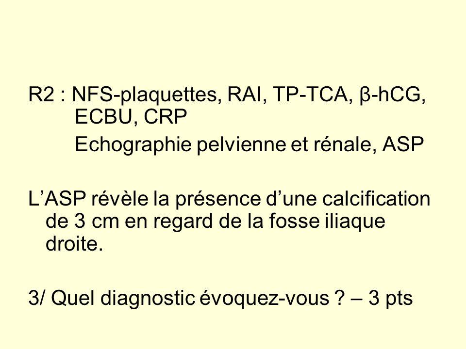 R2 : NFS-plaquettes, RAI, TP-TCA, β-hCG, ECBU, CRP