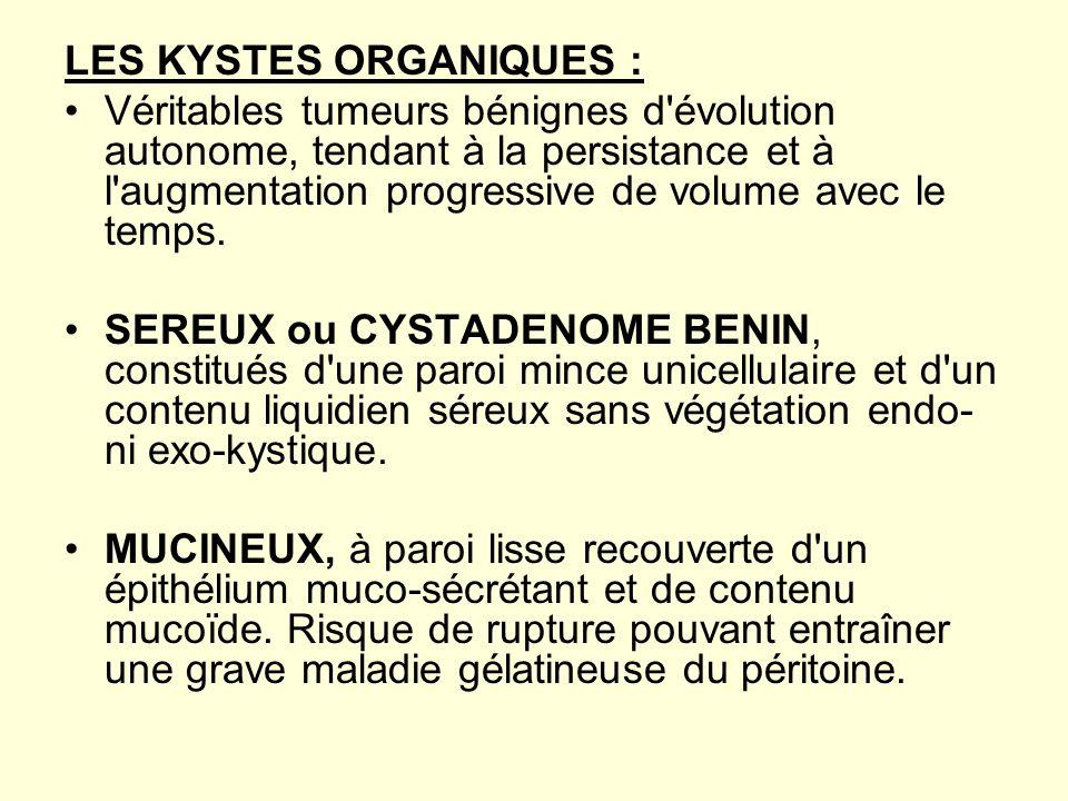 LES KYSTES ORGANIQUES :