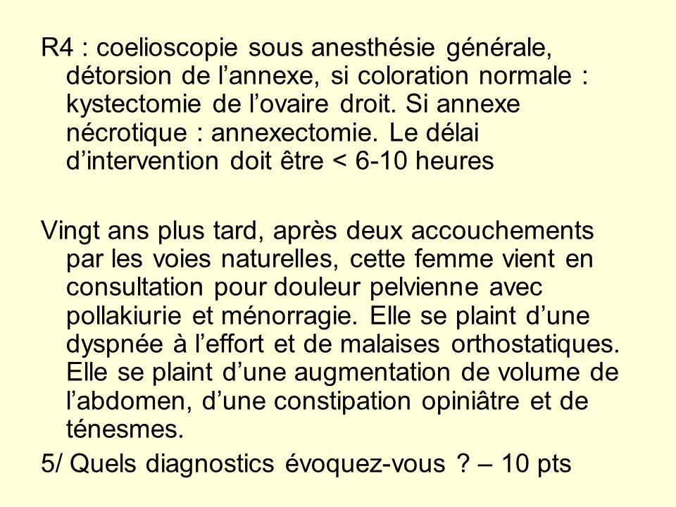 R4 : coelioscopie sous anesthésie générale, détorsion de l'annexe, si coloration normale : kystectomie de l'ovaire droit. Si annexe nécrotique : annexectomie. Le délai d'intervention doit être < 6-10 heures
