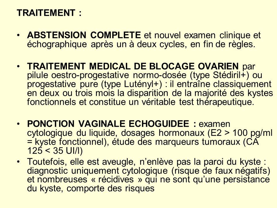 TRAITEMENT : ABSTENSION COMPLETE et nouvel examen clinique et échographique après un à deux cycles, en fin de règles.