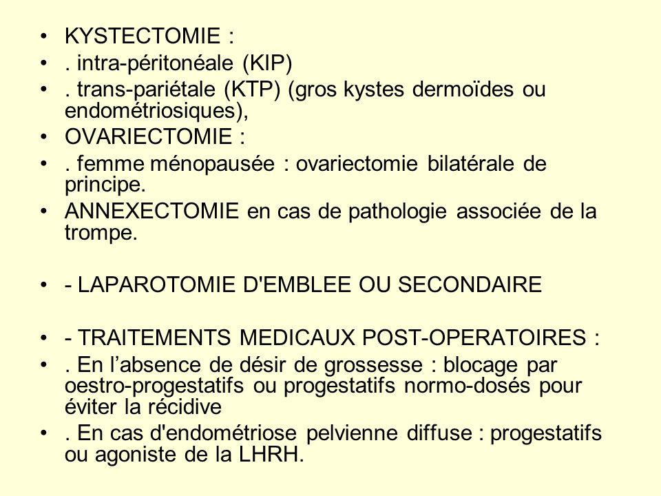 KYSTECTOMIE : . intra-péritonéale (KIP) . trans-pariétale (KTP) (gros kystes dermoïdes ou endométriosiques),
