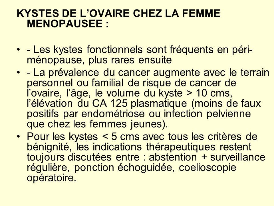 KYSTES DE L'OVAIRE CHEZ LA FEMME MENOPAUSEE :