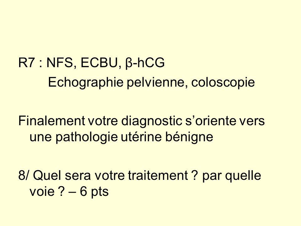 R7 : NFS, ECBU, β-hCG Echographie pelvienne, coloscopie. Finalement votre diagnostic s'oriente vers une pathologie utérine bénigne.