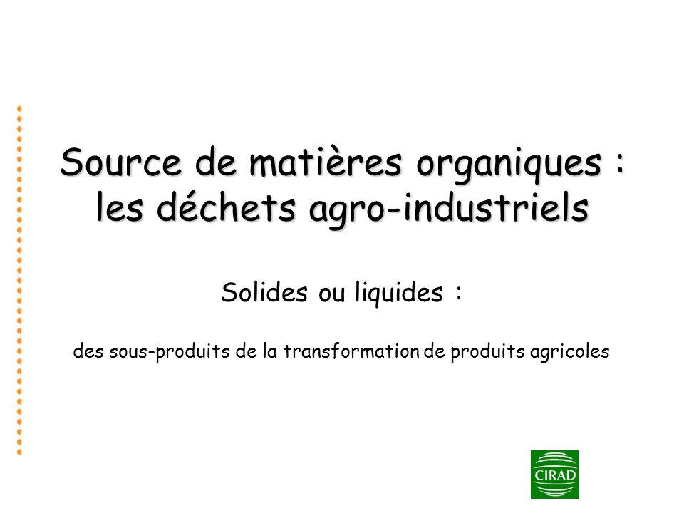 Source de matières organiques : les déchets agro-industriels