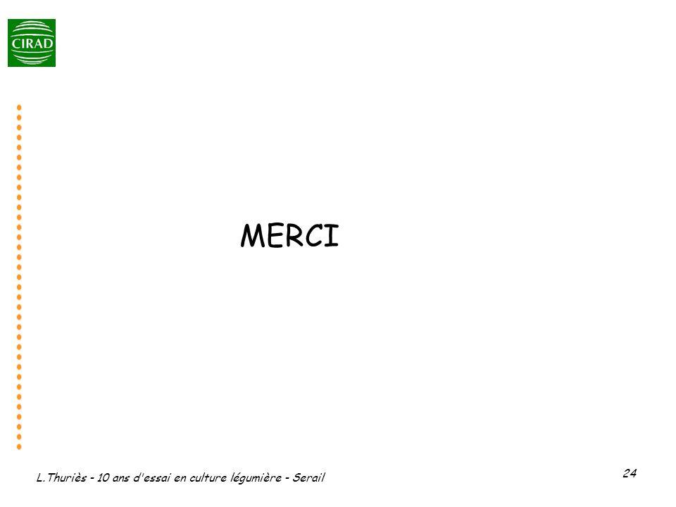 MERCI L.Thuriès - 10 ans d essai en culture légumière - Serail