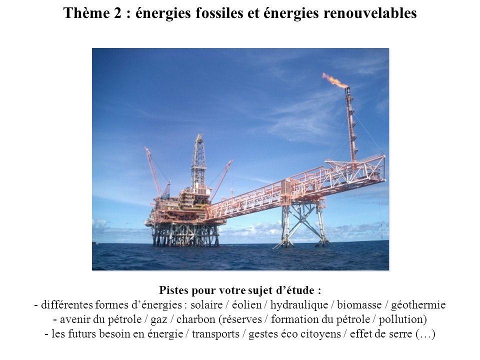 Thème 2 : énergies fossiles et énergies renouvelables