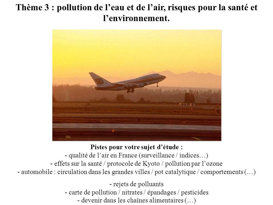 Thème 3 : pollution de l'eau et de l'air, risques pour la santé et l'environnement.