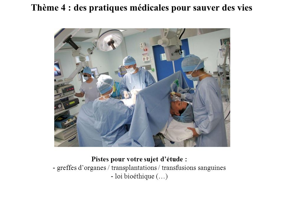 Thème 4 : des pratiques médicales pour sauver des vies