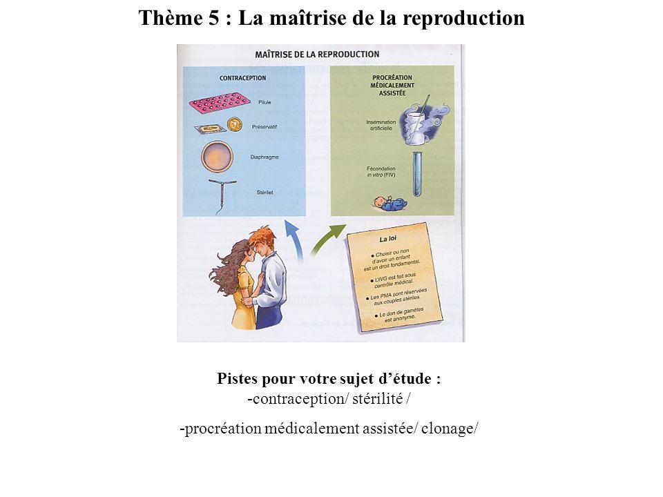 Thème 5 : La maîtrise de la reproduction