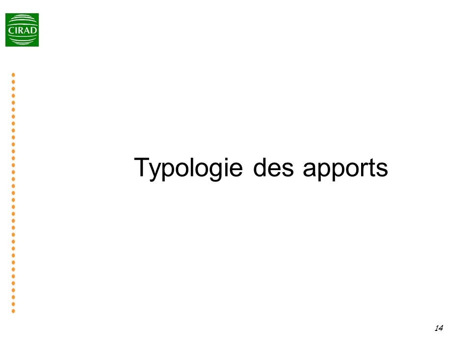 Typologie des apports