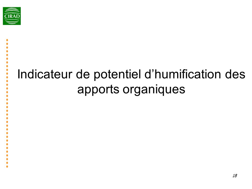 Indicateur de potentiel d'humification des apports organiques