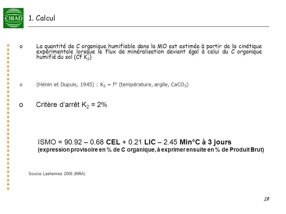 ISMO = 90.92 – 0.68 CEL + 0.21 LIC – 2.45 Min°C à 3 jours