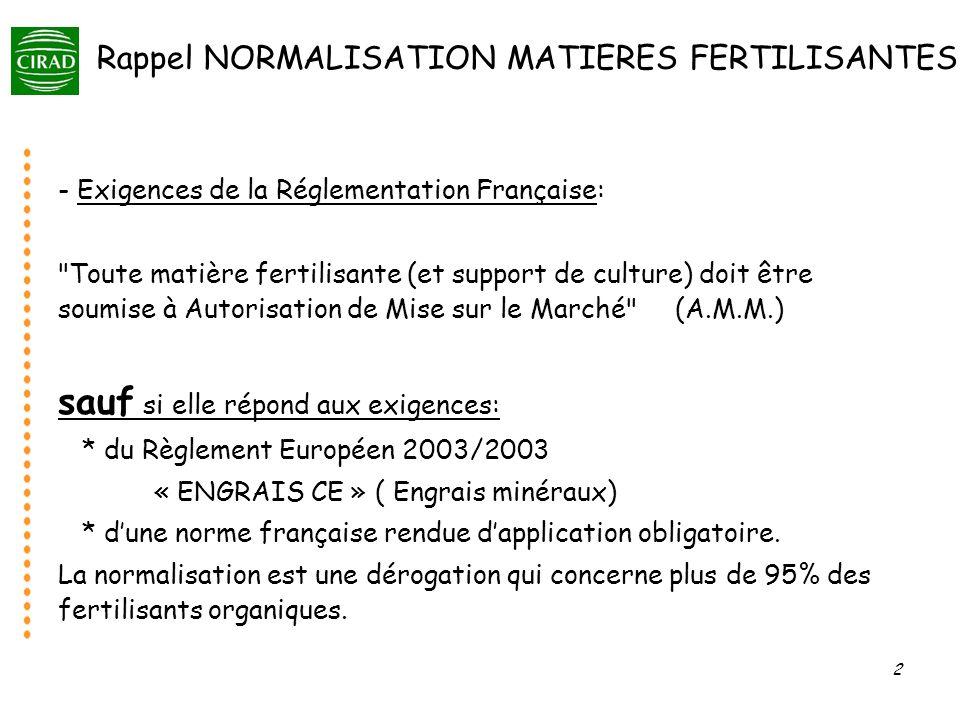 Rappel NORMALISATION MATIERES FERTILISANTES