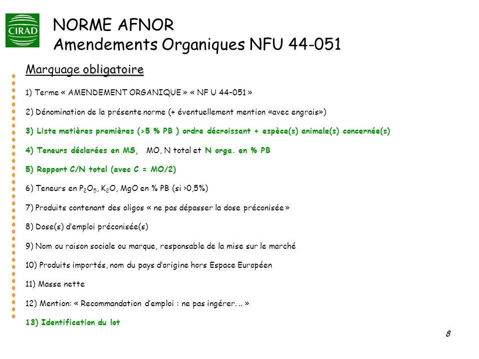 NORME AFNOR Amendements Organiques NFU 44-051