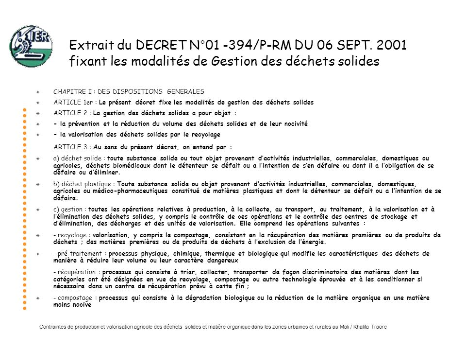 Extrait du DECRET N°01 -394/P-RM DU 06 SEPT