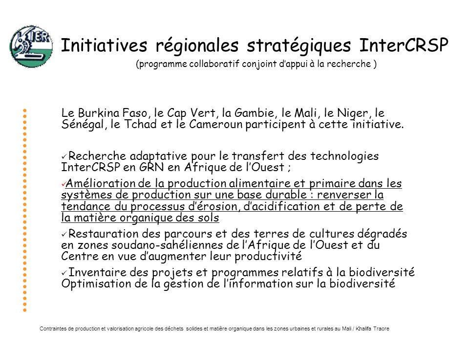 Initiatives régionales stratégiques InterCRSP (programme collaboratif conjoint d'appui à la recherche )