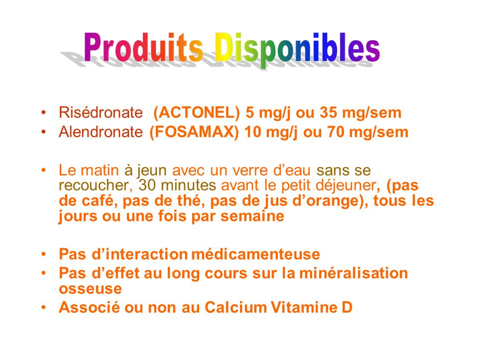 Produits Disponibles Risédronate (ACTONEL) 5 mg/j ou 35 mg/sem