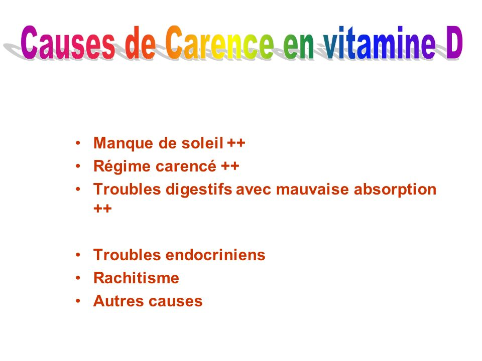 Causes de Carence en vitamine D