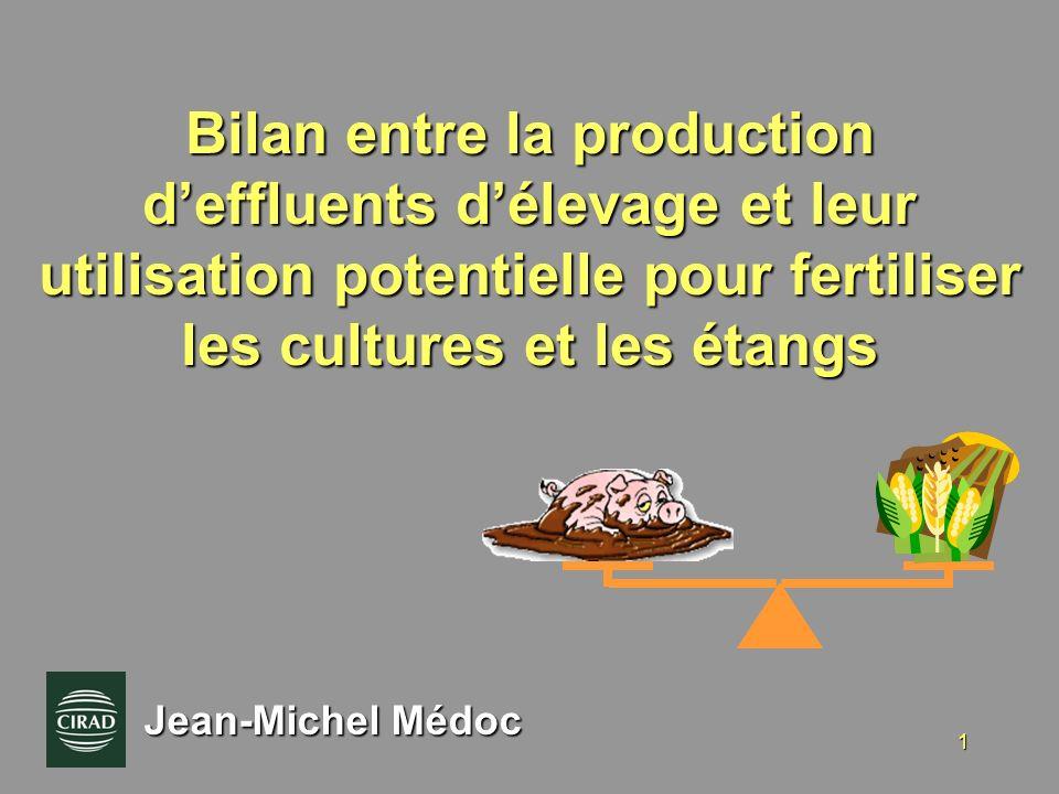 Bilan entre la production d'effluents d'élevage et leur utilisation potentielle pour fertiliser les cultures et les étangs