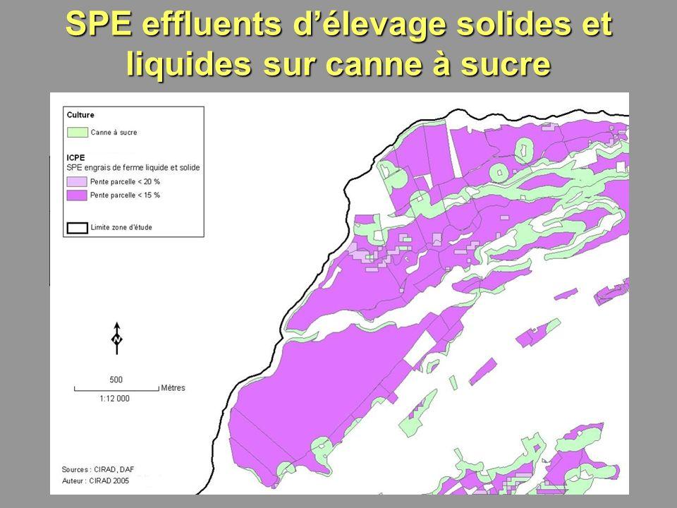 SPE effluents d'élevage solides et liquides sur canne à sucre