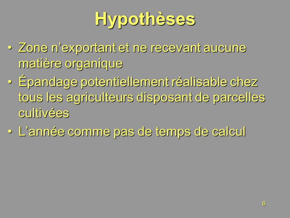 Hypothèses Zone n'exportant et ne recevant aucune matière organique