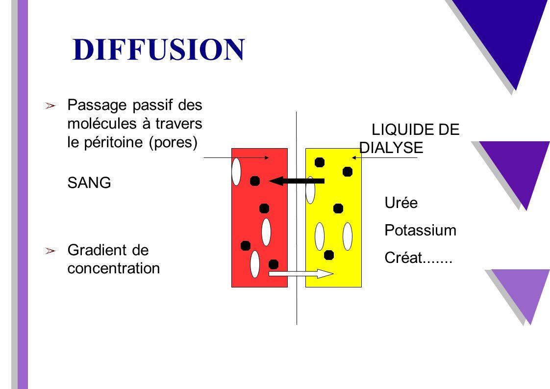 DIFFUSION Passage passif des molécules à travers le péritoine (pores)