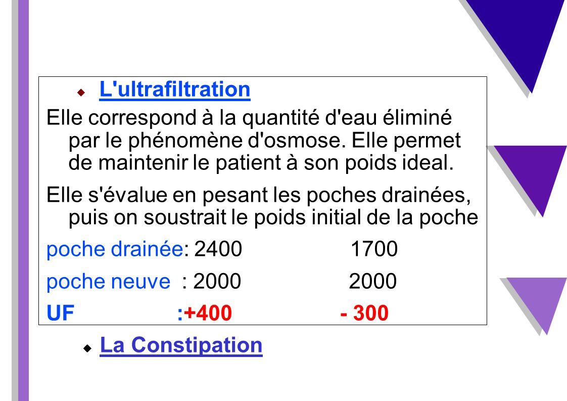 L ultrafiltration Elle correspond à la quantité d eau éliminé par le phénomène d osmose. Elle permet de maintenir le patient à son poids ideal.