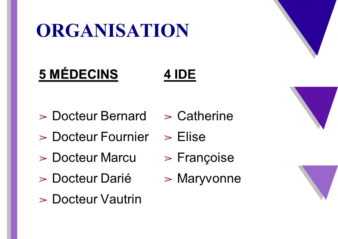ORGANISATION 5 MÉDECINS Docteur Bernard Docteur Fournier Docteur Marcu