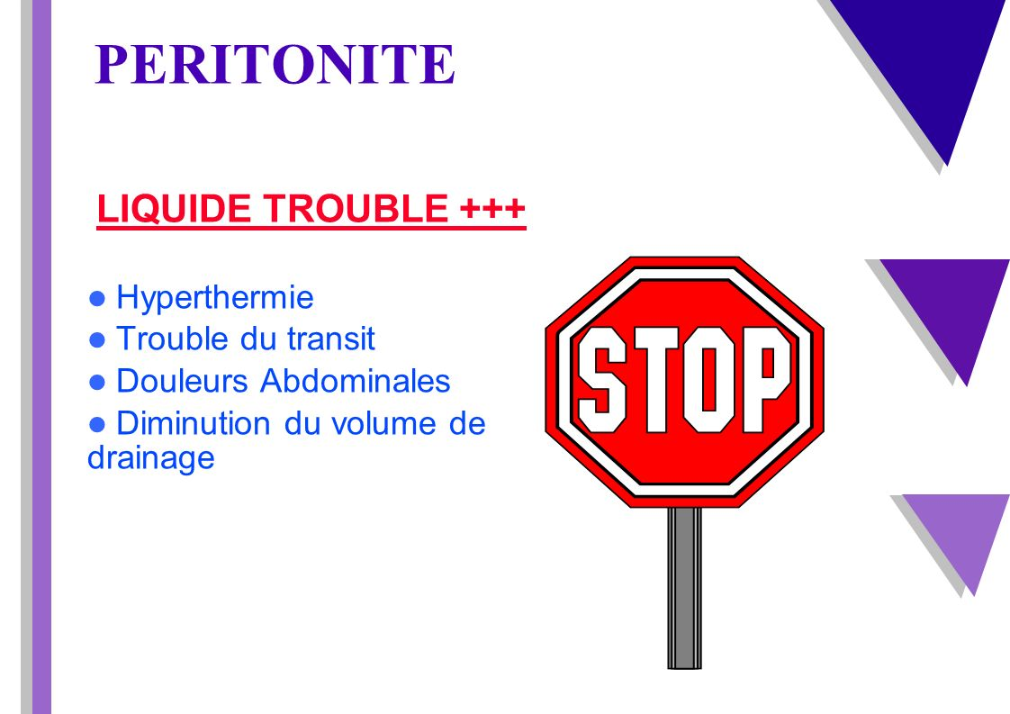PERITONITE LIQUIDE TROUBLE +++ Hyperthermie Trouble du transit