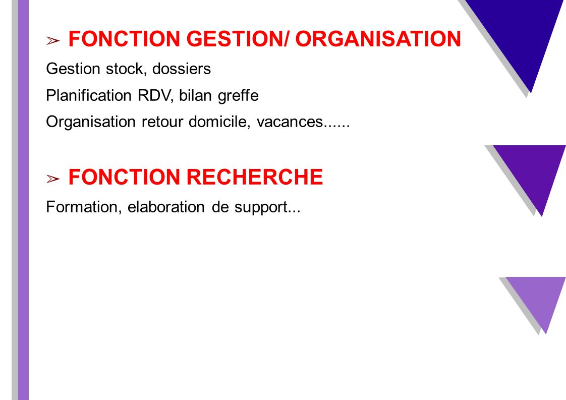 FONCTION GESTION/ ORGANISATION