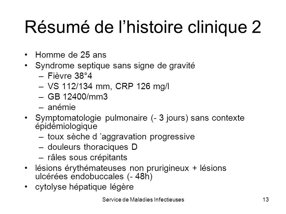 Résumé de l'histoire clinique 2