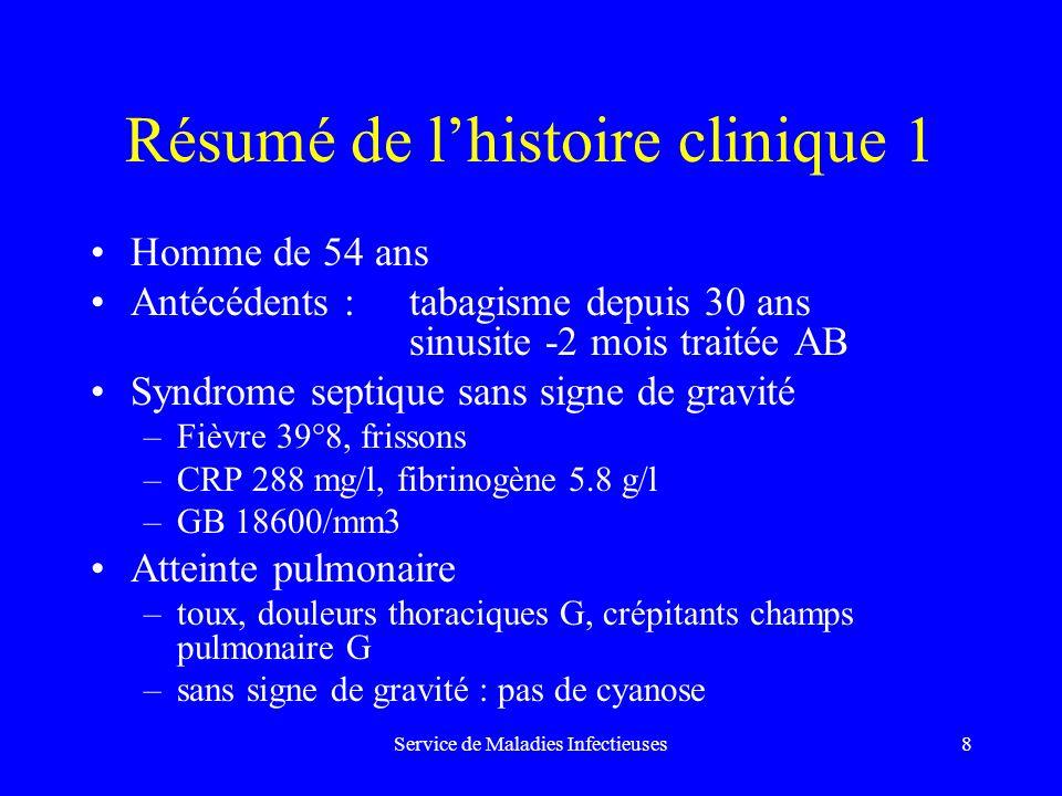 Résumé de l'histoire clinique 1