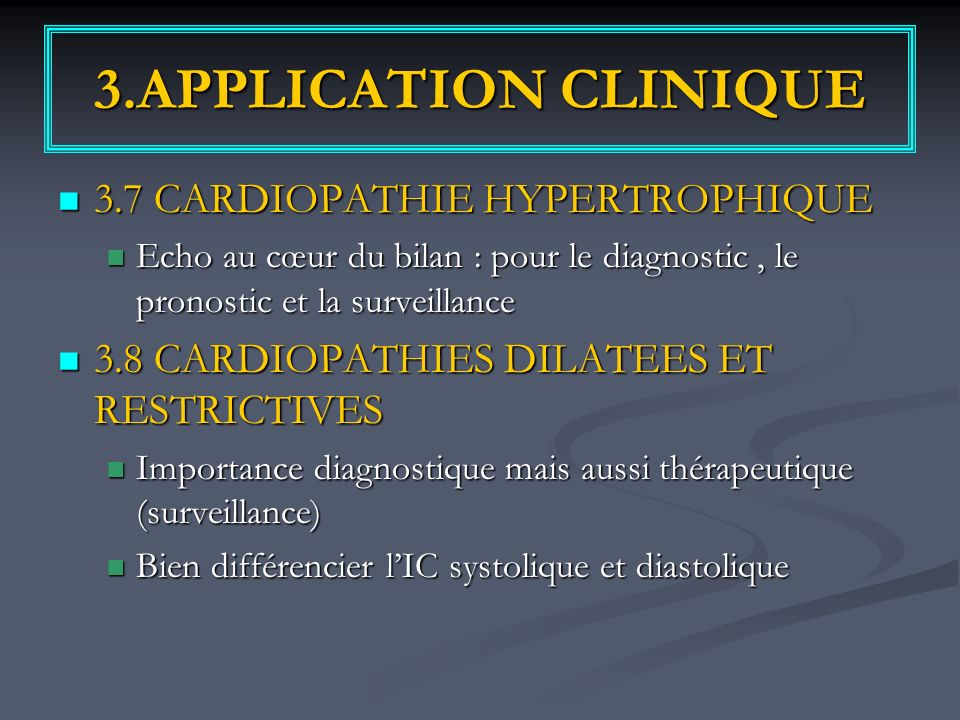 3.APPLICATION CLINIQUE 3.7 CARDIOPATHIE HYPERTROPHIQUE