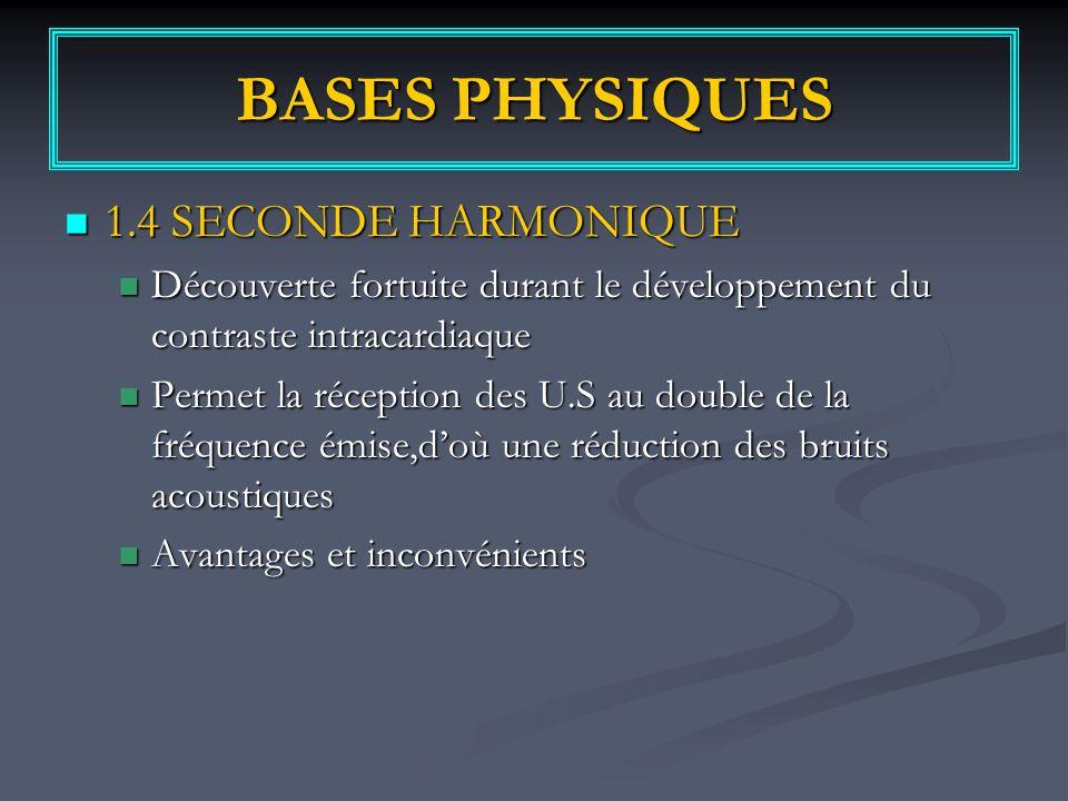 BASES PHYSIQUES 1.4 SECONDE HARMONIQUE