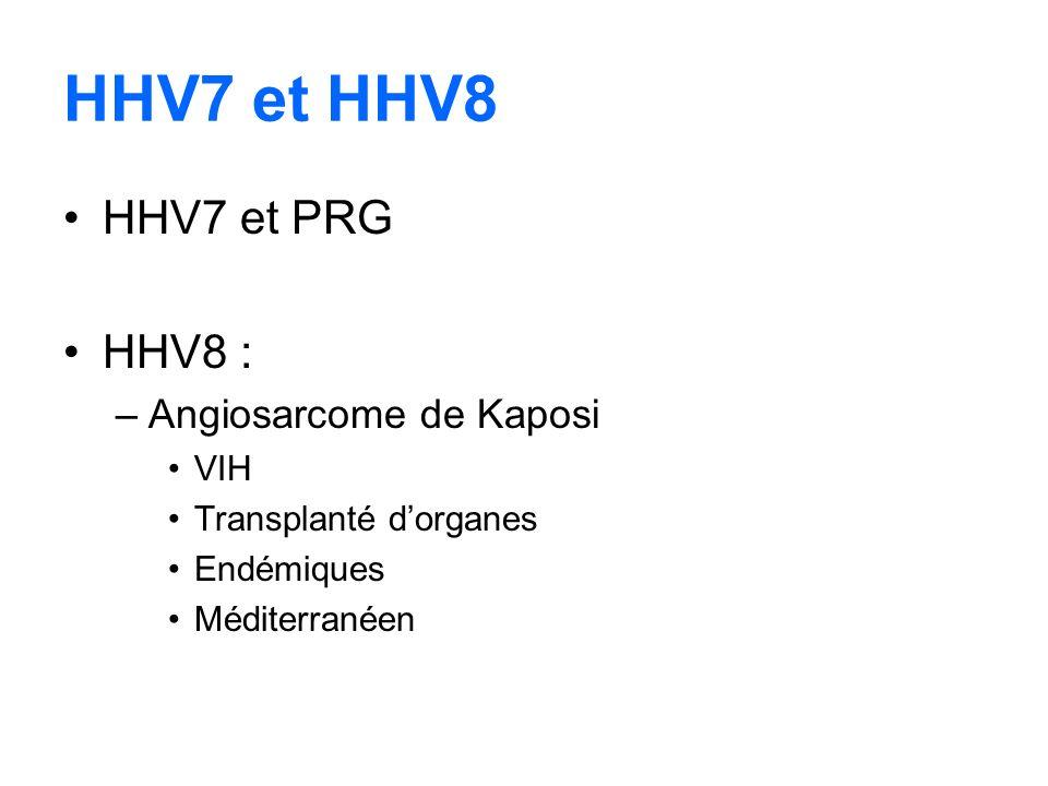 HHV7 et HHV8 HHV7 et PRG HHV8 : Angiosarcome de Kaposi VIH