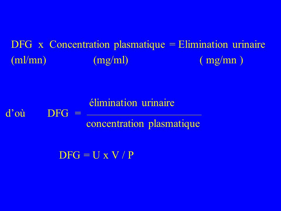 DFG x Concentration plasmatique = Elimination urinaire