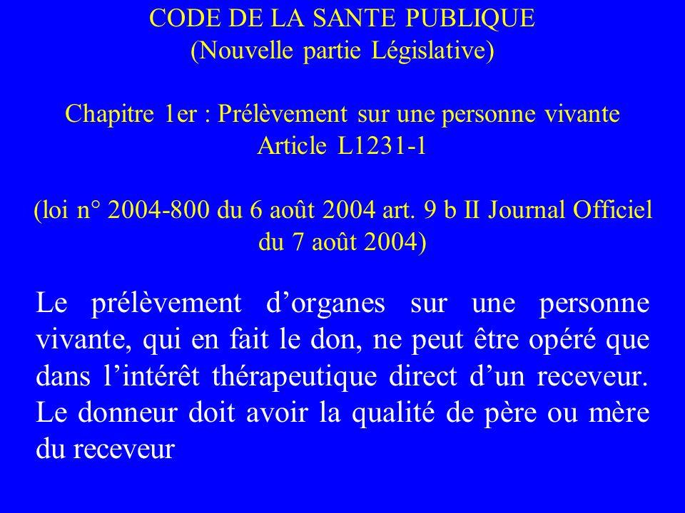CODE DE LA SANTE PUBLIQUE (Nouvelle partie Législative) Chapitre 1er : Prélèvement sur une personne vivante Article L1231-1 (loi n° 2004-800 du 6 août 2004 art. 9 b II Journal Officiel du 7 août 2004)