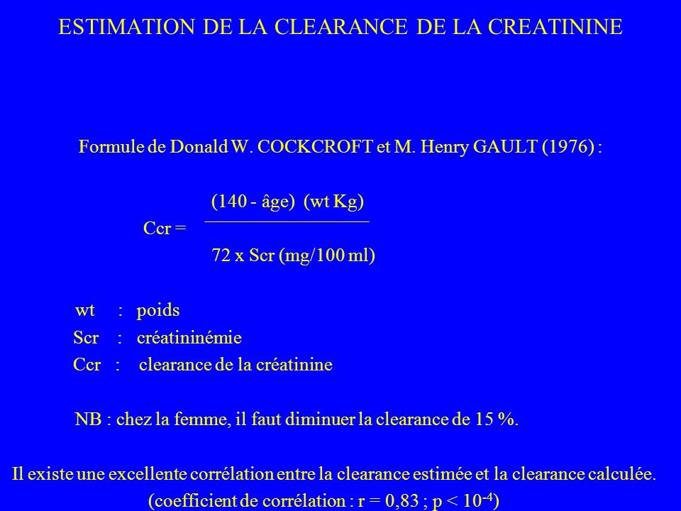 ESTIMATION DE LA CLEARANCE DE LA CREATININE