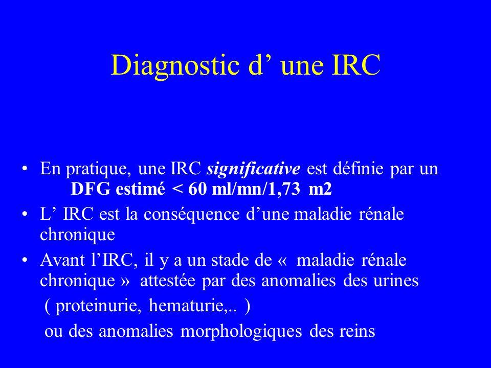 Diagnostic d' une IRCEn pratique, une IRC significative est définie par un DFG estimé < 60 ml/mn/1,73 m2.