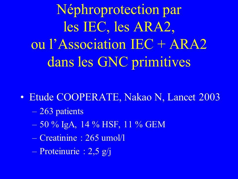 Néphroprotection par les IEC, les ARA2, ou l'Association IEC + ARA2 dans les GNC primitives